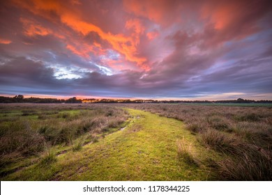 Spiritual voyage concept Rural Path through nature reserve under amazing sky  during Sunset, trail leading to Enlightment