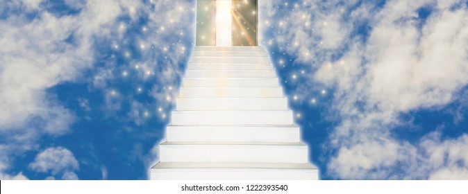 Spiritual Walk to Heaven With stairs leading straight into door of God,concept of spirit and belief in eternal truth, for Web banner horizontal panoramic style, sky is bright background.