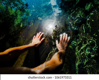 spiritual woman is touching healing water with her hands while the sun is shining
