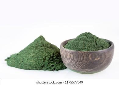 Spirulina algae powder. White background