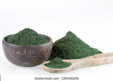 Spirulina powder dietary supplement - white background