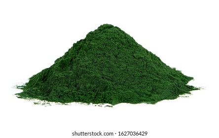 spirulina powder isolated on white background. seaweed powder isolated on white background. spirulina or seaweed powder isolated on white background
