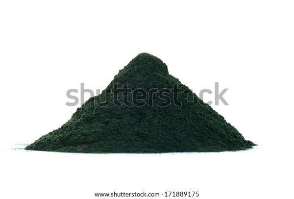 Spirulina powder isolated on white