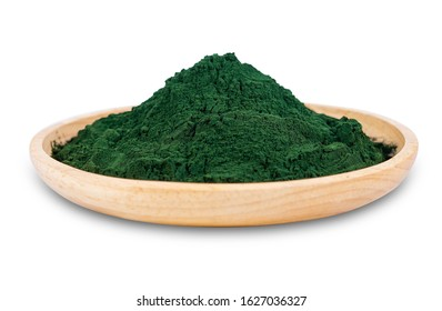 spirulina powder in wooden dish isolated on white background. seaweed powder in dish bowl isolated on white background. kelp powder in wooden dish isolated on white background with clipping path