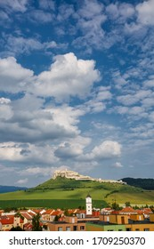 Spisske Podhradie town and Spis Castle in Slovakia. Scenic rural landscape with picturesque sky.