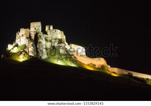 Spissky Castle (Hrad) in Night, Slovakia