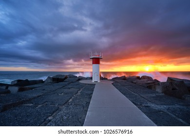 The Spit Lighthouse on the seaway break-wall, Gold Coast.