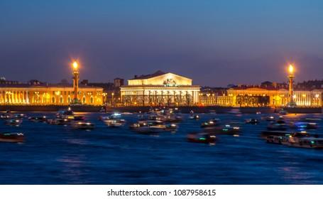 Spit (Strelka) of Vasilyevsky island at night, St. Petersburg, Russia