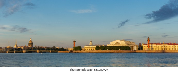 Spit of Vasilyevsky Island. View from Neva river