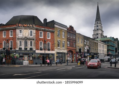 Spitalfields, London, United Kingdom 20 September 2014: The Golden Heart is public house in Spitalfields in the London Borough of Tower Hamlets, It was built in 1936 for Truman's Brewer