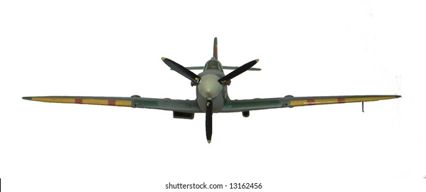 Spitfire Mk IX plane, remote control model airplane, isolated on white background front view