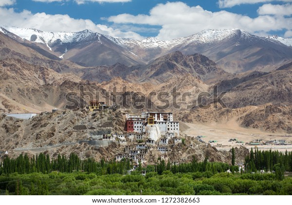 Spituk Monastery with view of Himalayas mountains. Spituk Gompa is a famous Buddhist temple in Ladakh, Jammu and Kashmir, India.