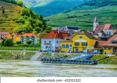 SPITZ, AUSTRIA, MAY 16,  2015: The town of Spitz an der Donau along the Danube River in the picturesque Wachau Valley, a UNESCO World Heritage Site, in Lower Austria.