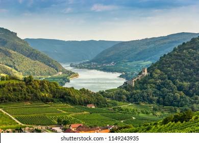 Spitz, Austria, View to Danube river in Wachau valley.