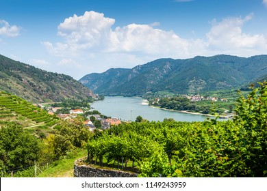 Spitz, Austria, View to Danube river from ruins of Hinterhaus castle.
