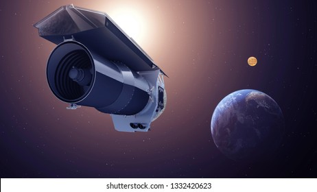 Spitzer Space Telescop on the orbite of the earth. Elements of this image furnished by NASA.