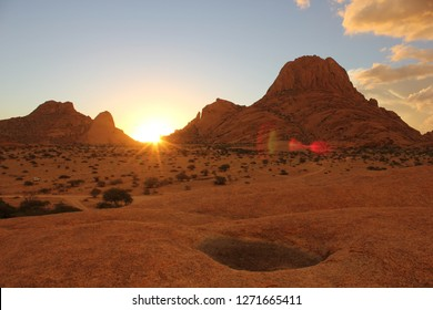 Spitzkoppe mountains and sunset.
