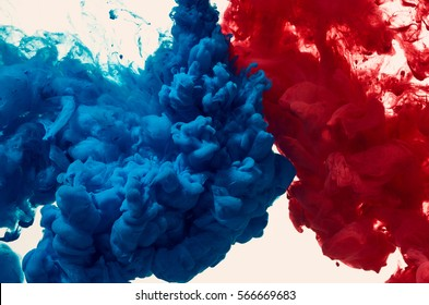 Splash of blue and red paint. Abstract background