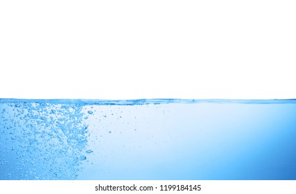 Splash of blue water against white background
