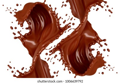 Splash of chocolate on a white background. 3d illustration, 3d rendering.