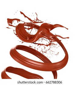 Splash chocolate white background. 3d illustration, 3d rendering.