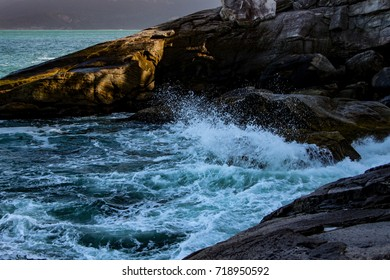 Splash at the coast, Brazil beach.