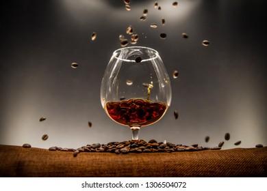 Splash, coffee beans and back-light