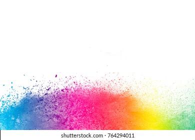 Splash of colorful powder over white background.