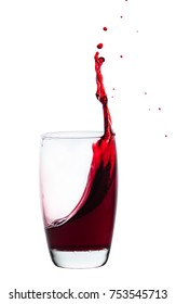 splash of drink from a glass, white isolated background
