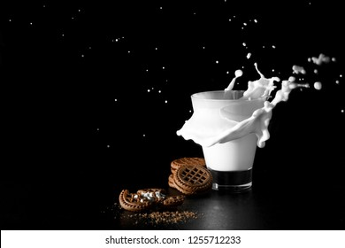 Splash in glass of milk and chocolate cookies on black background.