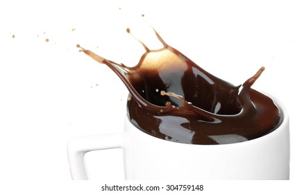 Splash of hot chocolate in cup isolated on white