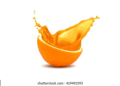Splash of juce out of orange, isolated on white