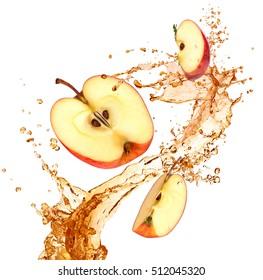 Splash juice with apple isolated on white