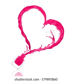 Splash of nail polish in the shape of a heart, poured from the bottle on white background