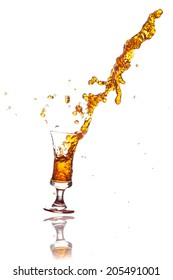 splash out drink from glass on white background.