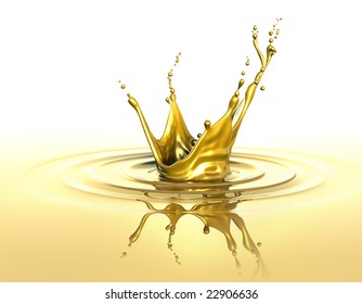 Splash and ripples on liquid gold
