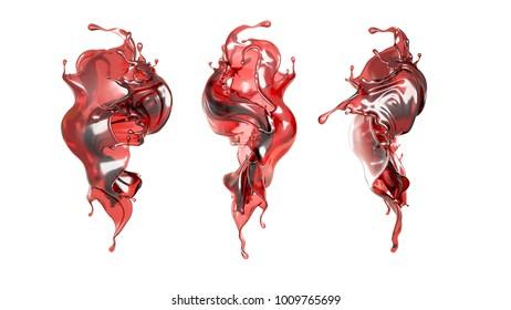A splash of a transparent red liquid. 3d illustration, 3d rendering.