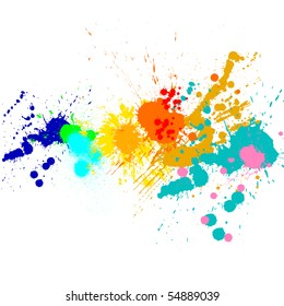 Splash of water colors on a white background