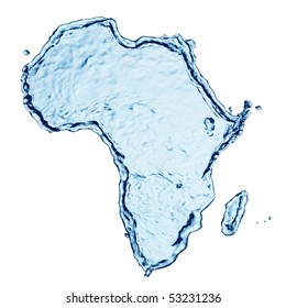 Splash of water in the form of mainland africa