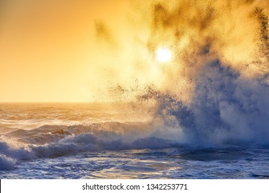 Splash water at sunset in tsitsikama national park, south afrika