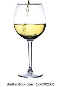 Splash white wine glass against a white background