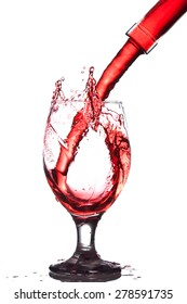 Splash of wine in the cup filling on a white background
