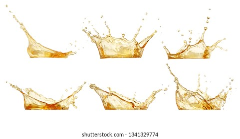 splashes collection. Juice or beer splashes set isolated on white