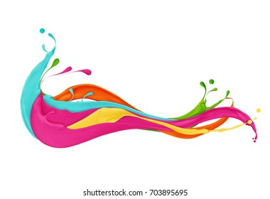 Splashes of colored paints on white background
