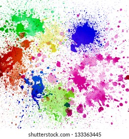 Splashes of colorful ink on white background.Abstract colorful splash watercolor art hand paint on white background