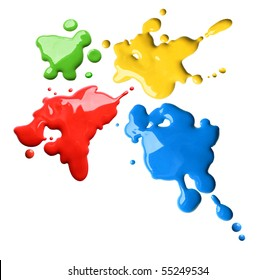 Splashes of four color red blue green yellow