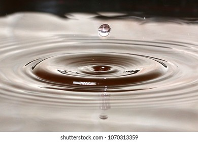 splashes and patterns on the surface of black oil after a drop of liquid