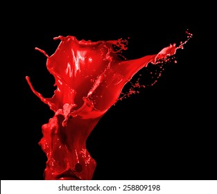 Splashes of red liquid isolated on black background template