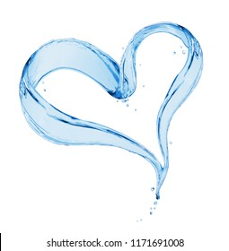 Splashes of water in the shape of a heart on a white background