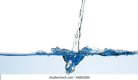 Splashes and water waves. Blue color on white isolated